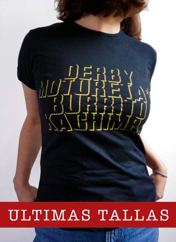 Camiseta Derby Motoretas Burrito Kachimba negra chica