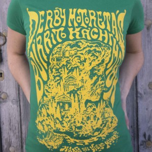 Camiseta Derby Motoretas Burrito Kachimba verde chica